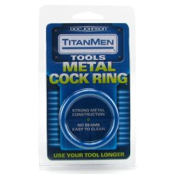 TitanMen Metal Cock Ring - Small - Blue 6 Product Image