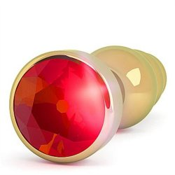 """Rich 3.9"""" Gold Plug with Crystal (R7) - Red 2 Product Image"""