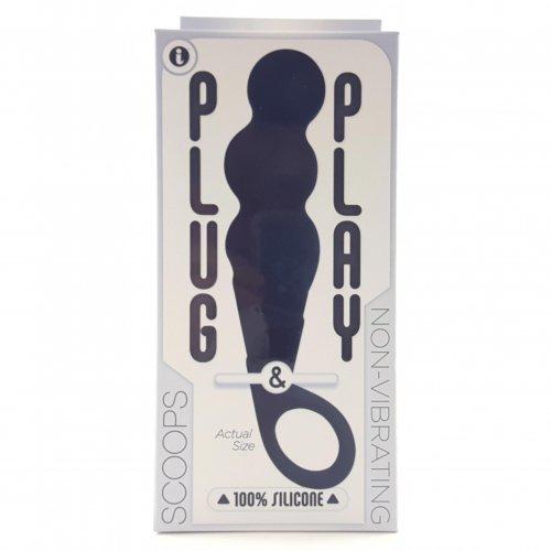 Plug & Play Scoops Butt Plug - Black 6 Product Image