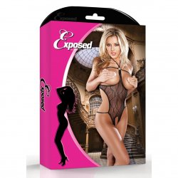 Exposed: Black Wavy Line Mesh Cupless Crotchless Halter Set - S/M 3 Product Image