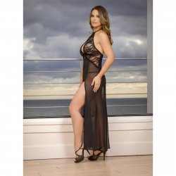 Exposed - Black Widow - Keyhole Cutout Gown & G-String Set - L/X 2 Product Image