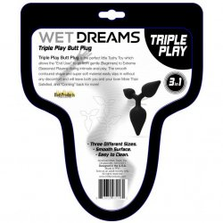 Wet Dreams - Triple Play Butt Plug - Black 3 Product Image