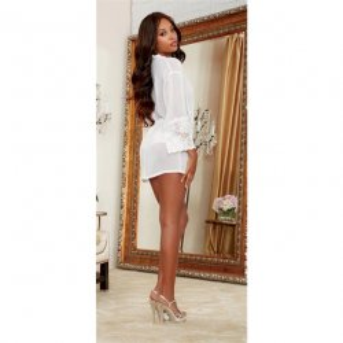Chiffon & Stretch Lace Short Length Kimono Robe & Cheeky Panty - White - XL 3 Product Image