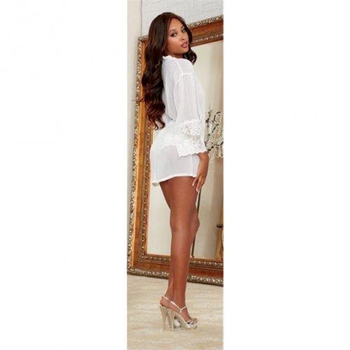 Chiffon & Stretch Lace Short Length Kimono Robe & Cheeky Panty - White - Large 3 Product Image