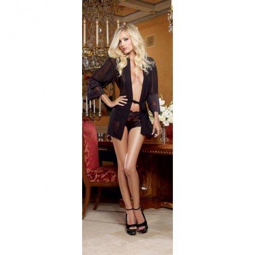 Chiffon & Stretch Lace Short Length Kimono Robe & Cheeky Panty - Black - XL 1 Product Image