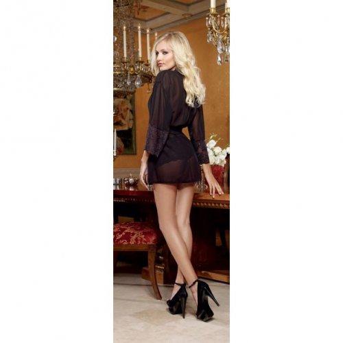 Chiffon & Stretch Lace Short Length Kimono Robe & Cheeky Panty - Black - XL 3 Product Image