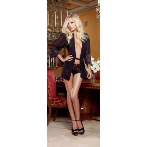 Chiffon & Stretch Lace Short Length Kimono Robe & Cheeky Panty - Black - Small 1 Product Image