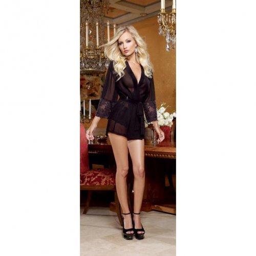 Chiffon & Stretch Lace Short Length Kimono Robe & Cheeky Panty - Black - Small 2 Product Image