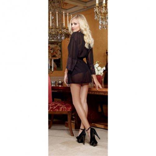 Chiffon & Stretch Lace Short Length Kimono Robe & Cheeky Panty - Black - Small 3 Product Image