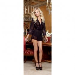 Chiffon & Stretch Lace Short Length Kimono Robe & Cheeky Panty - Black - Large 2 Product Image