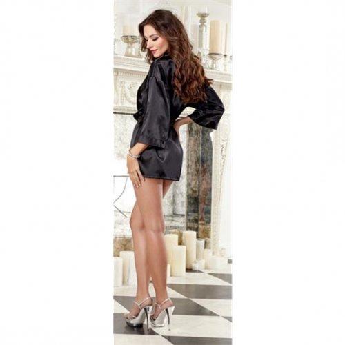 Charmeuse Short Length Kimono with Matching Chemise - Black - Medium 3 Product Image
