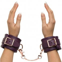 Fifty Shades Freed: Cherished Collection Leather Wrist Cuffs Purple With Gold Color Chain 1 Product Image