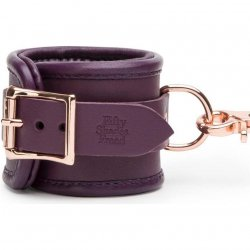 Fifty Shades Freed: Cherished Collection Leather Wrist Cuffs Purple With Gold Color Chain 4 Product Image