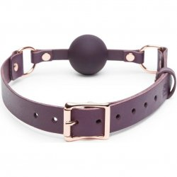 Fifty Shades Freed: Cherished Collection Leather and Silicone Ball Gag - Purple 2 Product Image