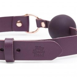 Fifty Shades Freed: Cherished Collection Leather and Silicone Ball Gag - Purple 3 Product Image