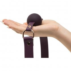Fifty Shades Freed: Cherished Collection Leather and Silicone Ball Gag - Purple 5 Product Image