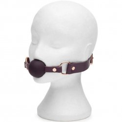 Fifty Shades Freed: Cherished Collection Leather and Silicone Ball Gag - Purple 8 Product Image