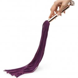 Fifty Shades Freed: Cherished Collection Suede Flogger With Purple and Gold Handle 7 Product Image