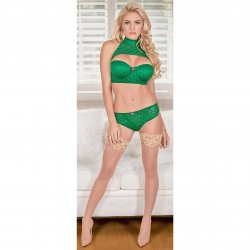 Exposed - Keyhole Bra with Removable Cups & Panty Set - Green - S/M 1 Product Image