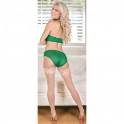 Exposed - Keyhole Bra with Removable Cups & Panty Set - Green - S/M 3 Product Image