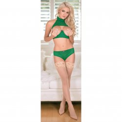 Exposed - Keyhole Bra with Removable Cups & Panty Set - Green - S/M 4 Product Image