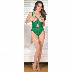 Exposed - Teddy with Removable Cups & Snap Crotch - Green - L/X 4 Product Image