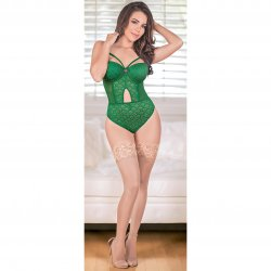 Exposed - Teddy with Removable Cups & Snap Crotch - Green - S/M 1 Product Image