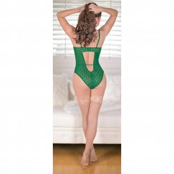 Exposed - Teddy with Removable Cups & Snap Crotch - Green - S/M 3 Product Image