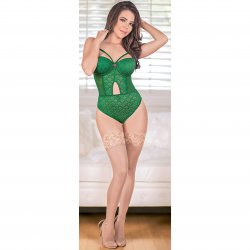 Exposed - Teddy with Removable Cups & Snap Crotch - Green - Queen 1 Product Image