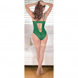 Exposed - Teddy with Removable Cups & Snap Crotch - Green - Queen 3 Product Image