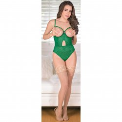 Exposed - Teddy with Removable Cups & Snap Crotch - Green - Queen 4 Product Image
