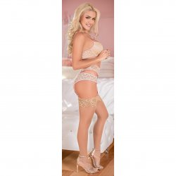 Exposed - Bra, Garter & Panty Set - Pink - Queen 3 Product Image