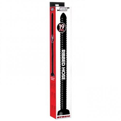 "Hosed 19"" Ribbed Anal Snake - Black 4 Product Image"