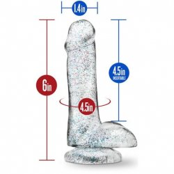 Naturally Yours - 6 Inch Glitter Cock - Sparkling Clear 6 Product Image