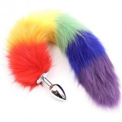 Rainbow Foxy Tail with Stainless Steel Butt Plug 1 Product Image