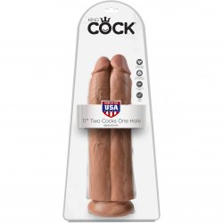 "King Cock 11"" Two Cocks One Hole - Tan 3 Product Image"
