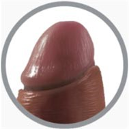 "King Cock  6"" Uncut Sliding Foreskin Cock - Brown 3 Product Image"