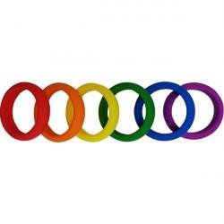 Pride Rainbow Silicone Cockring Six Pack 3 Product Image