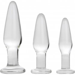 Adam & Eve Glass Anal Training Trio - Clear 3 Product Image