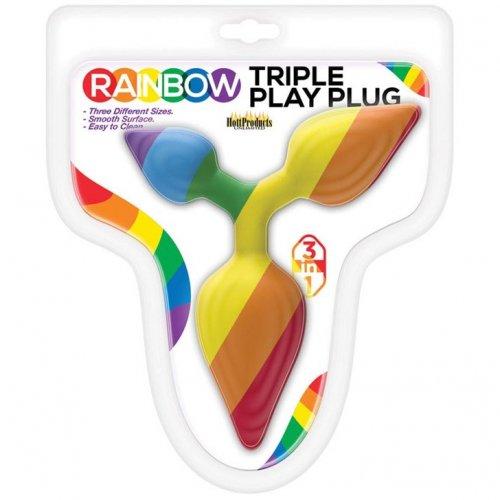 Rainbow Triple Play Butt Plug 1 Product Image
