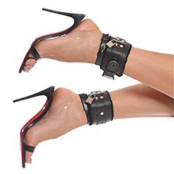 Bizarre Leather: Ankle Cuffs - Black 2 Product Image