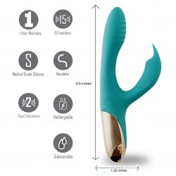 Maia: Skyler Silicone Bendable Rabbit Vibrator - Teal 8 Product Image