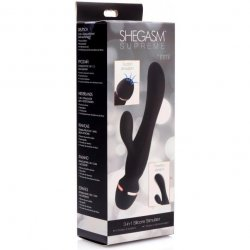 Shegasm Supreme 3 in 1 Silicone Suction Rabbit Vibe - Black/Gold 8 Product Image