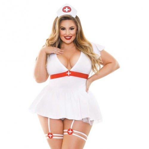 Fantasy Lingerie: Curve Bedside Nurse 3 Piece Set - 1XL/2XL 1 Product Image
