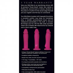 Adam & Eve the Wild Ride With Power Boost Vibrating Silicone Dildo - Pink 5 Product Image