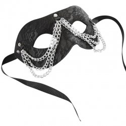 Sincerely Chained Lace Mask - Black Product Image