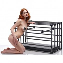 Kennel Adjustable Puppy Cage with Padded Board - Black 4 Product Image