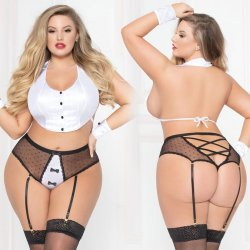 Shaken Not Stirred 3 Piece White and BlackTuxedo Set - Queen Product Image