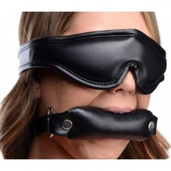 Strict Padded Blindfold and Gag Set - Black Product Image