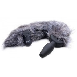 Tailz Vibrating Remote Control Silicone Fox Tail Anal Plug - Grey Product Image